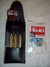 3PC GOLD GRIP DART SET IN POUCH CASE w/ 1 BUDWEISER FLIGHT + BNIP GYRO FLIGHTS