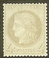 """FRANCE STAMP TIMBRE N° 52a """" CERES 4c GRIS-JAUNATRE 1872 """" NEUF xx TB"""