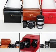 Leather case bag to Olympus E-P5 E-PL7 E-PL5 camera + 14-42mm & 40-150mm 2 lens
