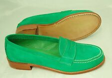 WOMAN - 36 - PENNY LOAFER - BRILLIANT GREEN SUEDE/LINING - LEATHER SOLE/BLAKE