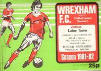 WREXHAM V LUTON. DIVISION 2  1981/82 SEASON