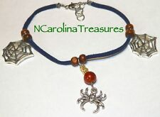 HANDCRAFTED SUEDE LEATHER BRACELET WITH SPIDER WEB CHARMS GLASS WOOD BEADS NEW
