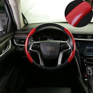 Car Steering Wheel Cover Non-Slip Booster Red Carbon Fiber Look Bling Set 38CM