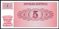 1990 SLOVENIA 5 TOLARJEV BANKNOTE * UNC * P-3 *