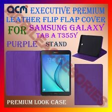 ACM-EXECUTIVE LEATHER FLIP CASE of SAMSUNG GALAXY TAB A T355Y COVER STAND-PURPLE