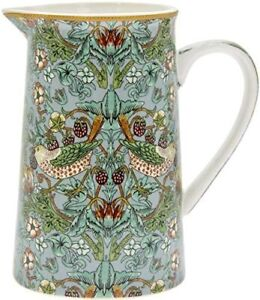 China Milk Jug Teal Strawberry Thief 15cm Ceramic Pottery Cream Gift Box Mum