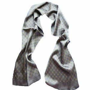Men 100% Silk Scarf Double Layer Long Neckerchief Business Cravat Blue Red Black