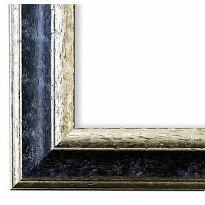 Bilderrahmen Schwarz Silber Holz Genua 4,3 - 21x28 24x30 28x35 30x30 30x40 30x45