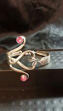 Silver Fork Bracelet Handmade vtg rhinestone heart spoon valentine artisan