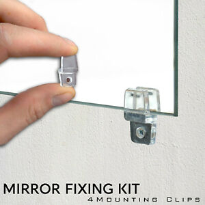 4 Mirror Wall Hanging Mounting Fixing Kit Frameless Plastic Mirror Wall Clips