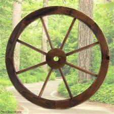 Large Fir Timber Wooden Wagon Wheel Garden Decor Outdoor Wall Feature 60.5cm