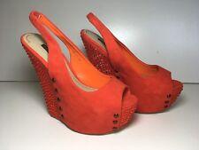 Mesdames Entièrement neuf dans sa boîte orange en Daim Synthétique Talon Haut Compensé Chaussures Escarpins Pôle SZ 3.5 EUR 36