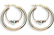 9ct Yellow White & Rose Gold 20mm Suspended Ball Hoop Earrings 1.6g Hallmarked