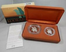 Australia 2005 1 & 2 Oz GEM Proof Silver Colorized Kookaburra 2 Coin Set CB039