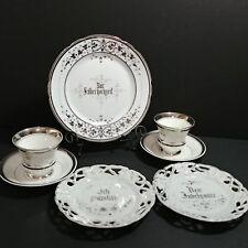 Wedding Anniversary Set KPM Co German Silver 7 Piece Tea Cups Saucers Plates