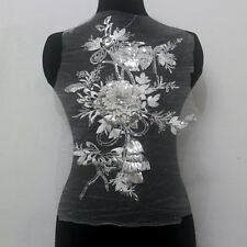 1Pcs 3D Flower Embroidered Tulle Sequin Crystal Applique/Patch~Off White~Sew On