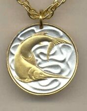 "Singapore 20 cent ""Sword fish"" Coin Pendant with 14k  Necklace."