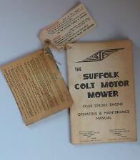 SUFFOLK COLT MOTOR MOWER OPERATING MANUAL GUARANTEE CARD & PRE-START LABEL 75G14