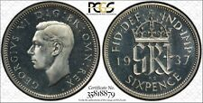 More details for 1937 6 pence silver sixpence great britain pcgs pr66 cameo proof