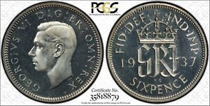 1937 6 Pence Silver Sixpence Great Britain PCGS PR66 Cameo Proof