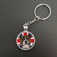 Staffie Dog Union Jack Pendant On A Split Ring Keyring Ideal Birthday Gift N338