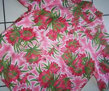 Vtg Lau Hale Pink Floral Hawaiian Shirt Hawaii Wedding XL CHEST:  51 PRISTINE!