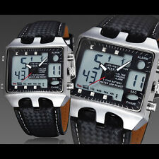OHSEN Men Date Digital Leather Band Military Sport Quartz Wrist Watch Waterproof