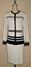 ST. JOHN KNIT-COLLECTION BEIGE & BLACK SANTANA KNIT JACKET & SKIRT SUIT-Sz.10