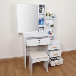 White Dressing Table Vanity Set Makeup Desk Larger Mirror 4Drawers Stool Shelves