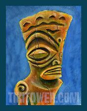 Marquesan East Art Print Tiki Bar Polynesian Kustom PolyPop Tiki God Decor