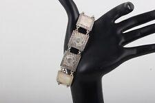 Panel Links Bracelet Fine 925 6964B Rios Sterling Silver Mexico Etched Design