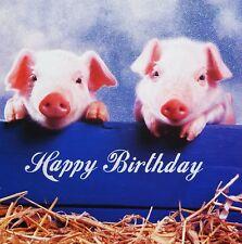 Pigs Luxury Birthday Card Two Pink Piggies Glitter Greeting Card NEW