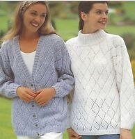 "Ladies Cardigan and Sweater Knitting Pattern Diamond Lace detail DK 28-44"" 980"