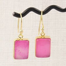 Unique Natural Pink Chalcedony Rectangle Shape Gold Plated Drop Dangle Earring
