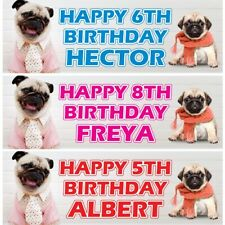 2 Personalised Innocent Pug Birthday Party Celebration Banner Decoration Poster