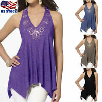 Women V Neck Lace Sleeveless Irregular Vest Shirt Casual Halter Tunic Top Blouse