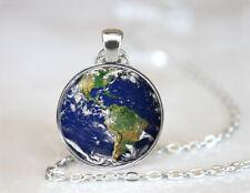 Vintage Earth Planet Pendant Dome Tibetan silver Glass Chain Pendant Necklace