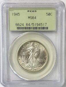 1945 Walking Liberty Half Dollar 50c PCGS MS64 - Original Green Holder Gem (OGH)