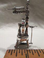 c1900 Dutch Silver Miniature Toy Doll Spinning Wheel Works! hallmarked