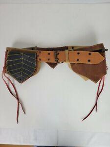 Renaissance Festival Leather Belt Leave Pouches