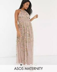 ASOS Maternity embroidered floral and sequin maxi dress- worn once! ASOS Size 4