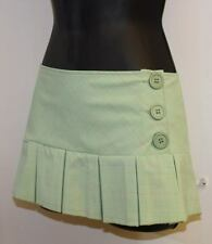 """9""""  Preppy Pleated  Schoolgirl Plaid Mini Skirt SMALL buttons clubbing sexy S XS"""