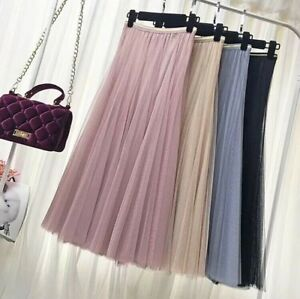 Womens elastic high waist mesh tulle tutu SKIRT layered pleated maxi long dress
