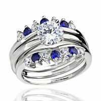 Sterling Silver Cubic Zirconia Simulated Sapphire Blue Women Wedding Rings Sets