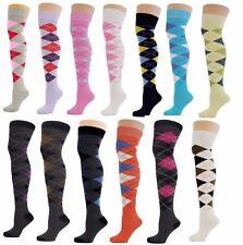 Quality Womens Over the knee Thigh High Argyle Diamond Girls Socks Size 4-8 UK