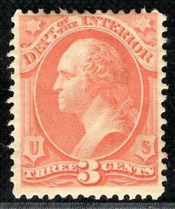 USA Official Stamp Scott.O17 3c *INTERIOR* (1873) Mint MM Cat $80+ ORANGE279