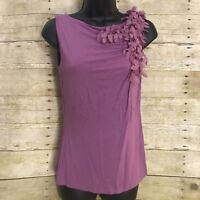 Anne Klein Top Size Small Purple Sleeveless Petal Shoulder Ruched Stretch