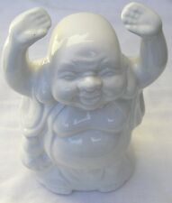 """Porcelain Ceramic 7"""" Buddha Vase Container - Palms To The Sky"""