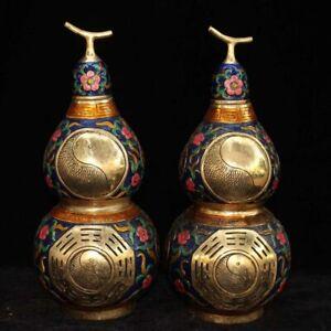 Chinese antique  Cloisonne gourds 2 pieces