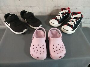 GUC lot of 3 toddler rubber CROCS, NIKE & CONVERSE athletic shoes - SIZE 8